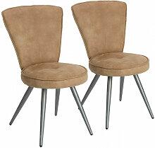 Lot de 2 chaises de table SORRA Taupe - Taupe