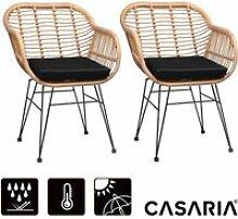 Lot de 2 chaises en osier bambou/polyrotin max.
