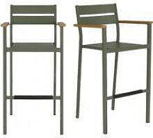 Lot de 2 chaises hautes de jardin en aluminium