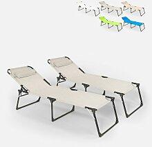 Lot de 2 chaises longues pliantes en aluminium de