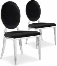 Lot de 2 chaises médaillon sofia velours noir