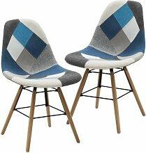 Lot de 2 chaises mod. Dsw patchwork gris-bleu