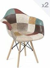 Lot de 2 chaises patchwork simili cuir NADOR
