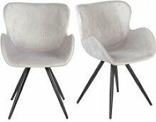 Lot de 2 chaises velours gris clair et pieds