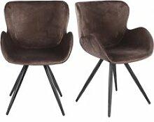 Lot de 2 chaises velours marron et pieds métal