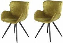 Lot de 2 chaises velours vert et pieds métal noir