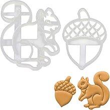 lot de 2 emporte-pièces écureuil (motifs: gland