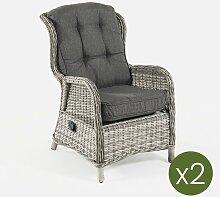 Lot de 2 fauteuils de jardin inclinables en