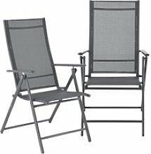 Lot de 2 fauteuils de jardin solide set de chaises