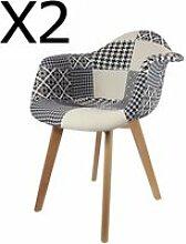Lot de 2 fauteuils en bois coloris noir et blanc -