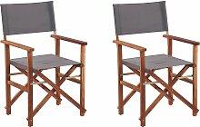 Lot de 2 fauteuils metteur en scène bois foncé /