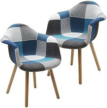 Lot de 2 fauteuils mod. Daw patchwork gris-bleu