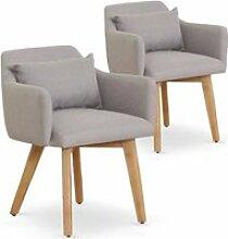 Lot de 2 fauteuils scandinaves Gybson Tissu Beige