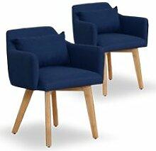 Lot de 2 fauteuils scandinaves gybson tissu bleu