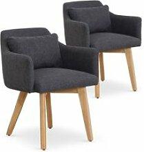 Lot de 2 fauteuils scandinaves gybson tissu gris