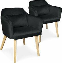Lot de 2 fauteuils scandinaves Gybson Velours Noir