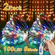 Lot de 2 guirlandes lumineuses LED 10 m 100 LED