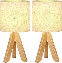 Lot de 2 lampes de table avec pied en bois et