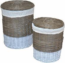 Lot de 2 panier à linge en rotin kubu gris tissé