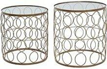 Lot de 2 tables d'appoint -Archi- en métal