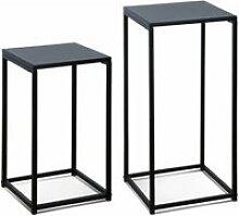 Lot de 2 tables d'appoints gigognes noires -