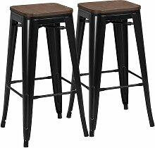 Lot de 2 Tabouret Bar Industriel Design Chaise