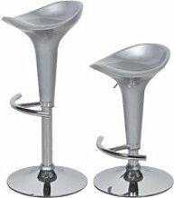 Lot de 2 tabourets ajustables - gris - pieds metal