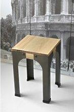 Lot de 2 tabourets bas - industriel vintage bois