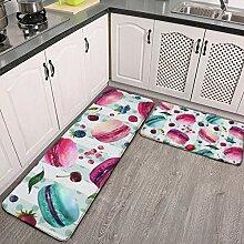 Lot de 2 tapis de cuisine et tapis de bain, motif