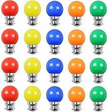 Lot de 20 ampoules Led B22 2W Guirlande Rouge,