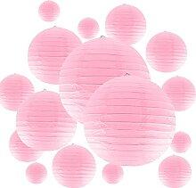 Lot de 20 lanternes en papier rose - Lampions en