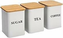 Lot de 3 boîtes de cuisine pour thé, café,