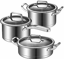 Lot de 3 casseroles en acier inoxydable avec