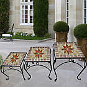 Lot de 3 mosaïque fleurs tabouret jardin table