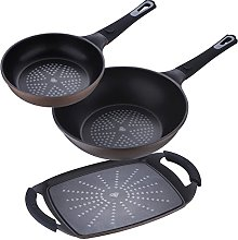 Lot de 3 poêles : casserole 20 cm + wok + plaque