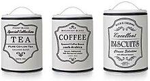 Lot de 3 pots de conservation thé café biscuit