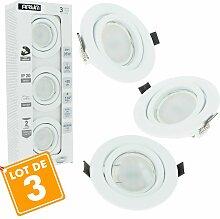Lot de 3 Spot LED encastrable plafond complet