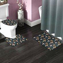 Lot de 3 tapis de bain antidérapants en forme de
