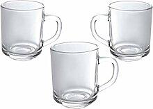 Lot de 3 tasses à thé/café droites en verre 245