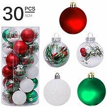 Lot de 30 boules de Noël décoratives incassables