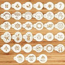 Lot de 33 pochoirs de Noël pour cupcakes ou