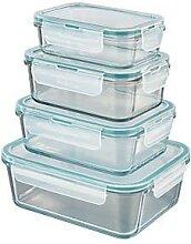 lot de 4 boîtes de conservation en verre