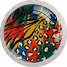 Lot de 4 boutons de commode, colorés et