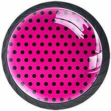 Lot de 4 boutons de placard ronds avec vis, motif