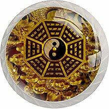 Lot de 4 boutons de tiroir Yin Yang en cristal