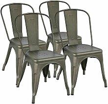 Lot de 4 Chaise de Salle à Manger Industrielle