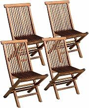 Lot de 4 chaises de jardin en teck huilé LOMBOK -
