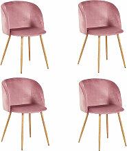 Lot de 4 chaises de salle a manger-Tissu velours