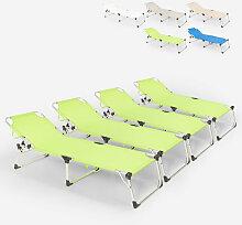 Lot de 4 chaises longues pliantes en aluminium de