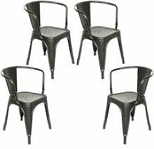 Lot de 4 chaises salle à manger hombuy noir style
